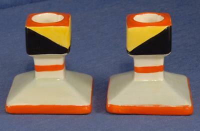 Pair of Art Deco Candlesticks marked 'Bursley Ware England' Charlotte Rhead