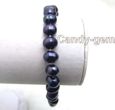 "SALE 6-7mm Natural black freshwater pearl 7.5"" Bracelet-bra1272 Free shipping"
