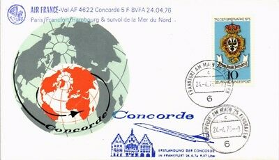 Dr Jim Stamps Germany Airmail Concorde First Flight Frankfurt Cover 1976