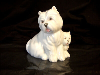 Vintage Royal Worcester Highland Terrier & Pup Time For You/safe With You Figure