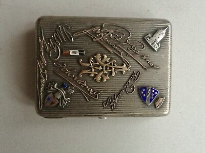 An authentic imperial russian silver 84 cigarette case with enamel ornaments.