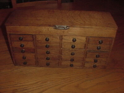 Watchmakers Parts cabinet 20 Draw with Lift Open Cover Made of Oak Really Nice
