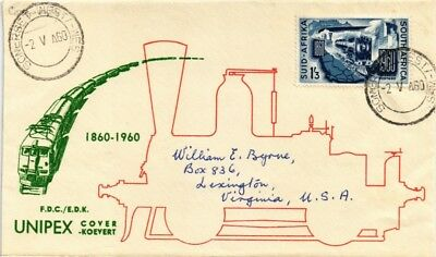 Dr Jim Stamps Unipex Railroad South Africa Koevert Tied Cover 1960