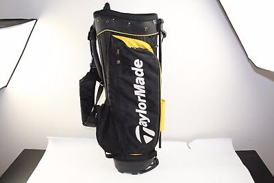"""TaylorMade Stand Golf Bag 10.5"""" Mouth 6-Way Top 4 Pocket Black Yellow White"""