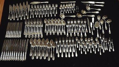 163 pc. Koch & Bergfeld Ludwig XVI Silver Set Serv for 12 + Fish Set + Servers