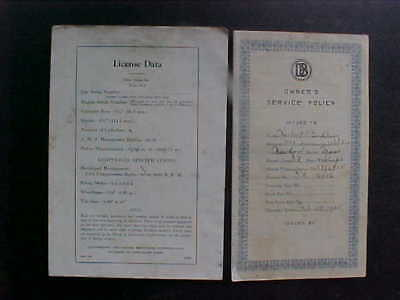 Two 1934 Dodge Brothers Pamphlets  A License Data And Owners Service Policy