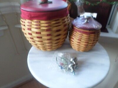 Longaberger  Large And Small Strawberry Basket Combos Wood Lids Silver Knobs