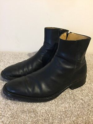 Russell And Bromley Mens Black Leather Boots Size 9.5 uk