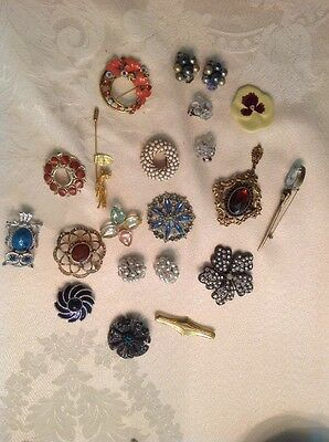 Vintage  Eclectic Lot Of pins  And Earrings,Monet ,Avon Etc.