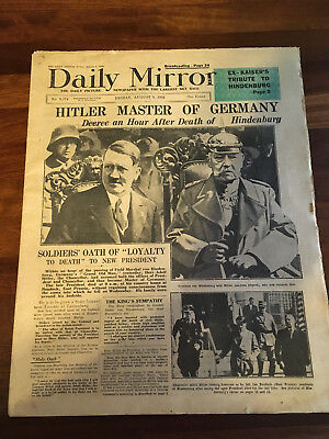Daily Mirror August 1St 2Nd 3Rd 7Th 1934 Hindenburg Death Adolf Hitler Decree