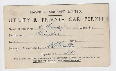 Hawker Aircraft Company - Drivers Permit WW2?