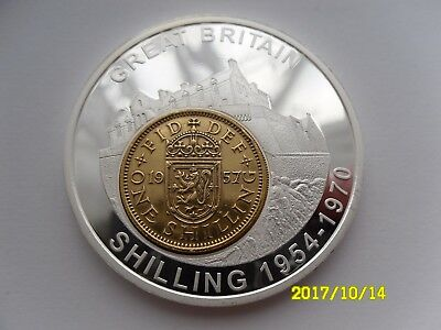 Britannia History Of British Currency Coin Inlay Medal - Scottish Shilling
