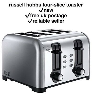 🍞Russell Hobbs 23540 4 Slice Wide Slot Toaster in Stainless Steel ✔️New & Boxed