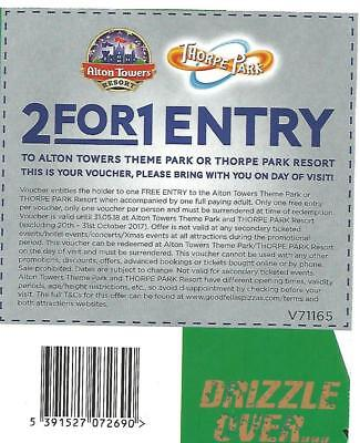 2 for 1 Voucher Ticket - Alton Towers - Valid till 31.05.2018