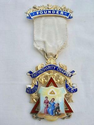 Masonic Sterling Silver & Enamel Faith & Charity Chapter No.329 Founders Jewel.