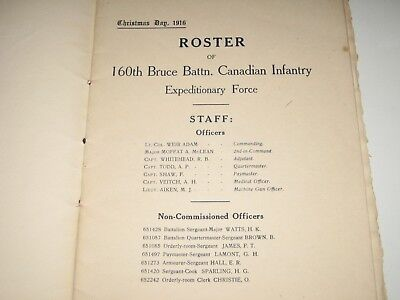 WW1 Canada 160th BRUCE BATTN CANADIAN INFANTRY 1916 Roster Menu BRAMSHOTT CAMP