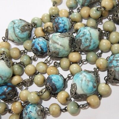 Unusual Antique Art Deco Silver Plate Filigree Turquoise Celluloid Bead Necklace
