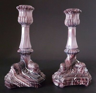 Rare Pair Purple & White Marbled Dolphin Glass Candlesticks Sowerby / Davidson ?