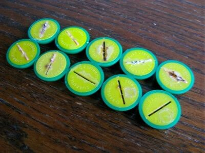 Subbuteo 10 x HW BASES GREEN/YELLOW Excellent