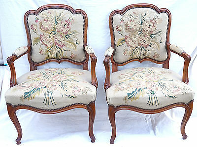 French Louis XV Pair Armchairs Aubusson Tapestry Carved Cherry Wood