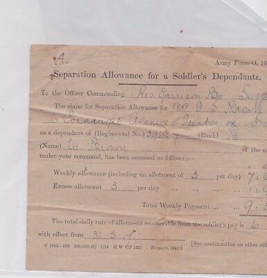 Ww1 Army Form O 1841, Separation Allowance For Dependants Pte W Brown 39657,