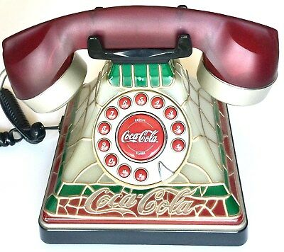 """Coca-Cola Home Telephone """"tiffany"""" Style Faux Stained Glass Look ~ New In Box"""