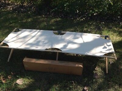Vintage 70s BYER Maine Folding Cot Camping Solid Wood White Cotton Canvas IN BOX