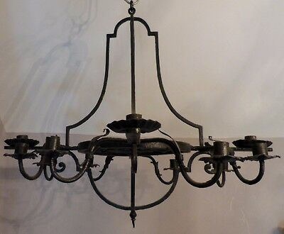 Superb LARGE ornate 12 Arm French Wrought Iron CANDLE CHANDELIER Ceiling Light