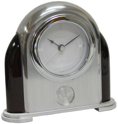 Devon Aluminum/Mahogany Arched Table Clock