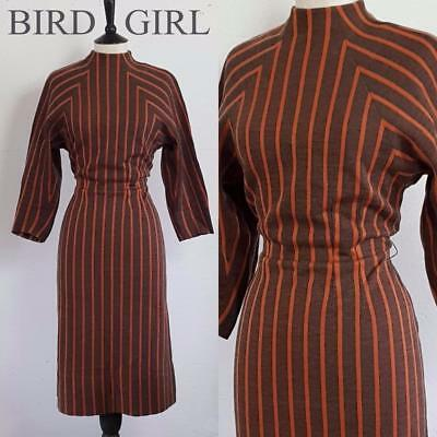 Funnel Neck 1950S Vintage Brown Striped Wool Jersey Wiggle Hourglass Dress 12
