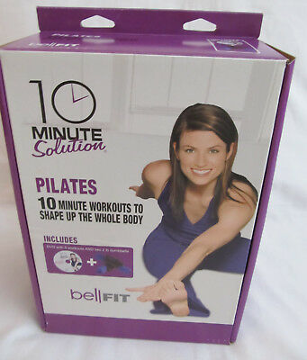 New BellFit 10 Minutes Solution Pilates DVD Workout & Two 2lb Dumbbells Included