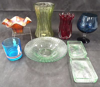 Selection of 8 GLASSWARE Items Vases Dishes Bowls Tumbler & Large Glass - M31