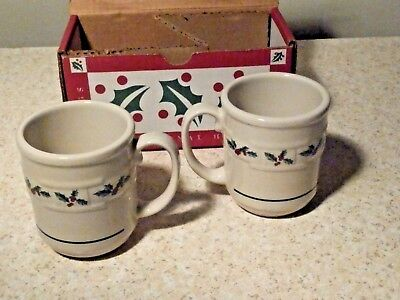 New In Box 2 Longaberger Traditional Holly Mugs