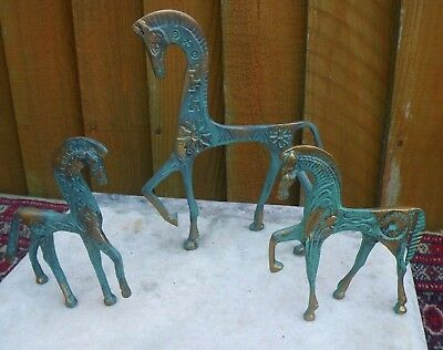 Set Of 3 Mid Centry Brass Etruscan Horse Figurines~Frederick Weinberg Eames Era