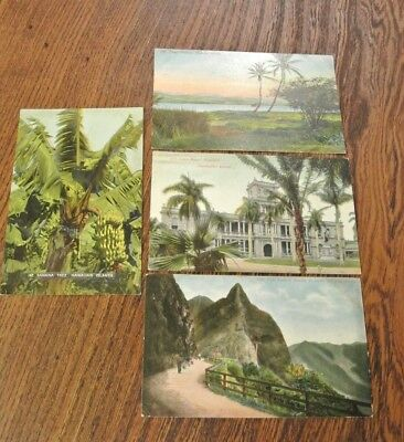 4 x vintage p/c`s HAWAIIAN PEARL HARBOUR/COURT HOUSE/PALL BATTLE GROUND (PM596)