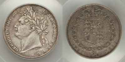 England 1823 Silver Coin Half Crown King George IV Laureate Head 2nd Rev. EF 40