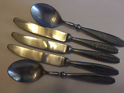 5 Pieces JOHN DEERE Gibson Stainless Steel Flatware 3-Knives, 2-Large Spoons