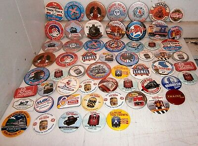 Large collection of 59 Lionel and Railroad related Pinbacks - exc!