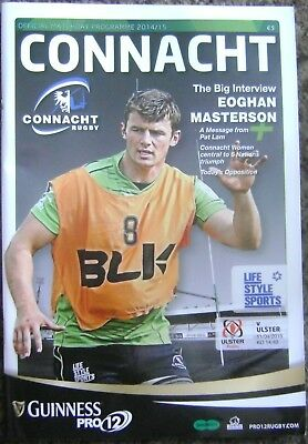 CONNACHT v ULSTER, APRIL 2015, RUGBY PROGRAMME, EXCELLENT CONDITION.