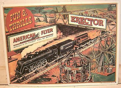 """16 1/2"""" by 12"""" Embossed Tin Litho Repro of 1949 American Flyer Catalog Cover ex!"""