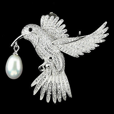 Luxury White Pearl & Cubic Zirconia 925 Sterling Silver Bird Brooch With Pendant