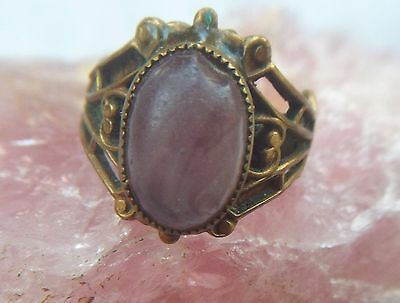 Purple Frosted Glass Ornate Victorian Revival Brass Adjustable Ring