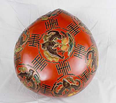 Vintage Antique LARGE Hand Paint Chinese Lacquer Box Carved Butterfly Moth Wood