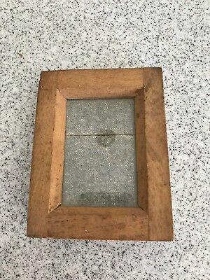 ANTIQUE WOOD GLASS PHOTO FRAME BRITISH MADE 1920's NEGATIVE PHOTO PICTURE FRAME