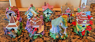 Vintage Hamilton Collection Bird Houses in Bloom Figurines Lot of 9