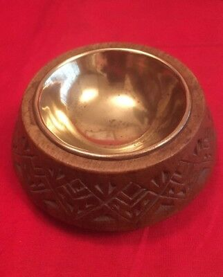 Vintage Yugoslavian Wooden Salt With Brass Liner c.1960's