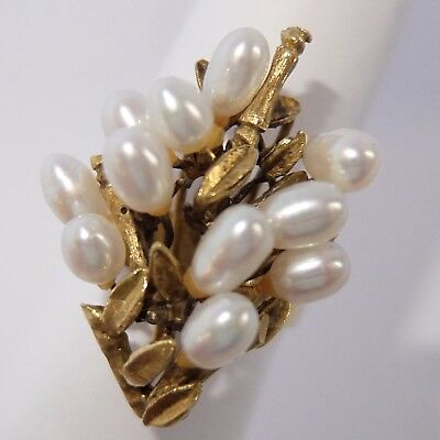 Fine Vintage Estate 18K Gold Bamboo Pearl Cocktail Ring