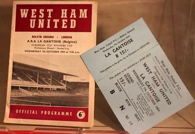 West Ham v A.R.A. La Gantoise ECWC 1964 with Original Ticket