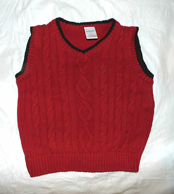 Toddler Boy 3 3T Gymboree Classic Holiday Red Cable Knit Dressy Sweater Vest Top