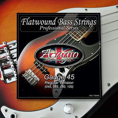Adagio Flatwound Electric Bass 4 String Pack Gauge 45-100 ✯✯✯✯✯ RRP £29.99